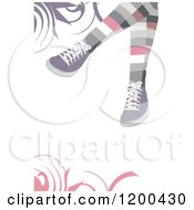 Girls Feet With Shoes And Pastel Colorful Socks Over Swirls 2