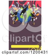 Background Of Businessmen Investors With Cash Around A Globe On Purple With Swirls And Copyspace
