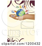 Hald Holding A Globe With Euro Cash Over Tan With Swirls And Text Space