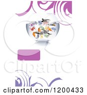 Fish Bowl With Cash Money And Investors Over White Copyspace With A Frame And Swirls