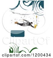 Businessman Chasing A Dolar Hook Underwater With White Copyspace A Frame And Swirls