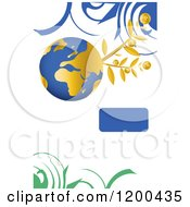 Blue And Gold Globe With A Coin Plant Over White With Swirls And Copyspace