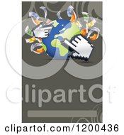 Globe With Cash Money And Hand Cursors Over Copyspace And Swirls
