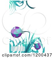 Turquoise And Purple Globe Plant Over White With Swirls And Copyspace