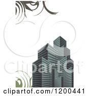 City Urban Real Estate Background With Skyscrapers And Swirls Over White Copyspace
