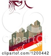 City Urban Real Estate Background With Skyscrapers Stripes And Swirls Over White Copyspace