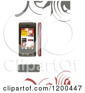 Smart Phone Shown In Different Views On White Copyspace With Swirls And A Text Box