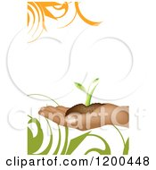 Hand Holding Soil And A Seedling Plant Over White With Swirls And Copyspace