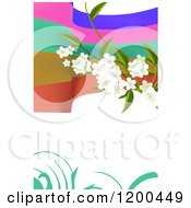 Blossom Branch Over Colorful Waves And Swirls On White With Copyspace 2