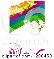 Blossom Branch Over Colorful Waves And Swirls On White With Copyspace