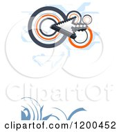 Clipart Of An Arrow Cursor And Circles Over White Copyspace With Swirls Royalty Free Vector Illustration by creativeapril
