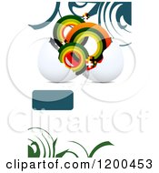 Egg Shell With Circles And Crosses Over White With Swirls And A Text Box