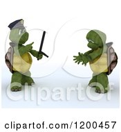 Clipart Of A 3d Police Tortoise Arresting A Criminal Royalty Free CGI Illustration by KJ Pargeter