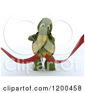 Clipart Of A 3d Tortoise Performing A Ribbon Cutting Grand Opening Ceremony Royalty Free CGI Illustration