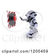 Poster, Art Print Of 3d Robot Reaching For A Question Mark Button