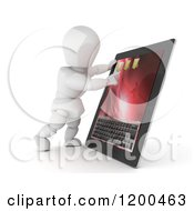 3d White Character Using A Touch Screen Tablet Computer