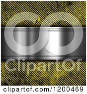 Clipart Of A 3d Silver Plaque Over Grungy Diagonal Hazard Stripes Royalty Free CGI Illustration