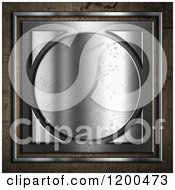 Clipart Of A 3d Silver Circle And Square Over Concrete Royalty Free CGI Illustration