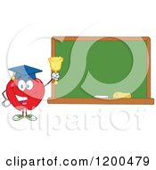 Cartoon Of A Happy Red Apple Wearing A Graduation Cap And Ringing A Bell By A Chalkboard Royalty Free Vector Clipart by Hit Toon