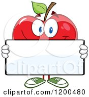 Cartoon Of A Red Apple Holding A Sign Board Royalty Free Vector Clipart