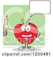 Cartoon Of A Happy Talking Red Apple Holding A Pencil Royalty Free Vector Clipart