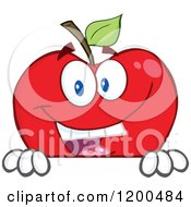 Cartoon Of A Smiling Red Apple Over A Sign Or Ledge Royalty Free Vector Clipart
