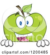 Cartoon Of A Smiling Green Apple Over A Sign Or Ledge Royalty Free Vector Clipart