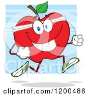 Cartoon Of A Healthy Fit Red Apple Jogging Over Blue Royalty Free Vector Clipart