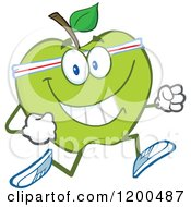 Cartoon Of A Healthy Fit Green Apple Jogging Royalty Free Vector Clipart