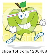 Cartoon Of A Healthy Fit Green Apple Jogging Over Yellow Royalty Free Vector Clipart