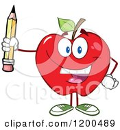 Cartoon Of A Happy Red Apple Holding A Pencil Royalty Free Vector Clipart