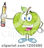 Cartoon Of A Happy Green Apple Holding A Pencil Royalty Free Vector Clipart by Hit Toon