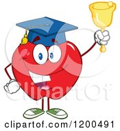 Cartoon Of A Happy Red Apple Wearing A Graduation Cap And Ringing A School Bell Royalty Free Vector Clipart by Hit Toon