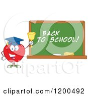 Cartoon Of A Happy Red Apple Wearing A Graduation Cap And Ringing A Bell By A Back To School Chalkboard Royalty Free Vector Clipart by Hit Toon