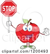 Cartoon Of A Happy Red Apple Gesturing And Holding A Stop Sign Royalty Free Vector Clipart