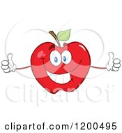 Cartoon Of A Pleased Red Apple Holding Two Thumbs Up Royalty Free Vector Clipart