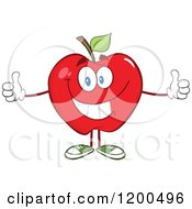 Cartoon Of A Pleased Red Apple With Two Thumbs Up Royalty Free Vector Clipart
