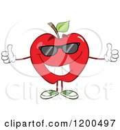 Cartoon Of A Pleased Red Apple Wearing Sunglasses And Holding Two Thumbs Up Royalty Free Vector Clipart