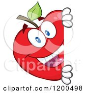 Cartoon Of A Happy Red Apple Looking Around A Sign Or Corner Royalty Free Vector Clipart