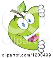 Cartoon Of A Happy Green Apple Looking Around A Sign Or Corner Royalty Free Vector Clipart