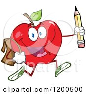 Cartoon Of A Happy Red Apple Running With A Backpack And Pencil Royalty Free Vector Clipart by Hit Toon