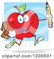 Cartoon Of A Happy Red Apple Running With A Backpack And Pencil Over Blue Royalty Free Vector Clipart by Hit Toon