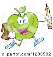 Cartoon Of A Happy Green Apple Running With A Backpack And Pencil Royalty Free Vector Clipart by Hit Toon