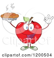 Cartoon Of A Red Apple Gesturing Ok And Holding Up A Fresh Hot Pie Royalty Free Vector Clipart