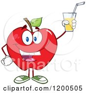 Cartoon Of A Happy Red Apple Holding Up A Glass Of Juice Or Cider Royalty Free Vector Clipart