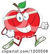 Cartoon Of A Healthy Fit Red Apple Jogging Royalty Free Vector Clipart