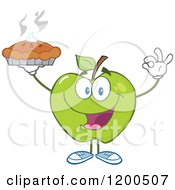 Cartoon Of A Green Apple Gesturing Ok And Holding Up A Fresh Hot Pie Royalty Free Vector Clipart