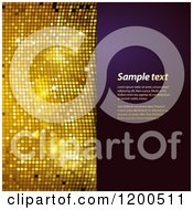 Clipart Of A Sparkly Gold Mosaic And Purple Panel With Sample Text Royalty Free Vector Illustration