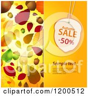Clipart Of An Acorn Shaped Autumn Sale Discount Tag Over Sample Text On A Panel With Autumn Leaves Royalty Free Vector Illustration