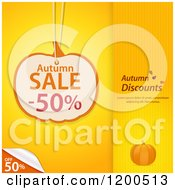 Clipart Of A Pumpkin Shaped Autumn Sale Discount Tag Over Yellow Panels With A Peeling Corner And Sample Text Royalty Free Vector Illustration